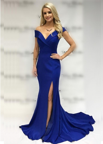 Fold Plunging Off-the-shoulder Royal Blue Prom Dress Mermaid