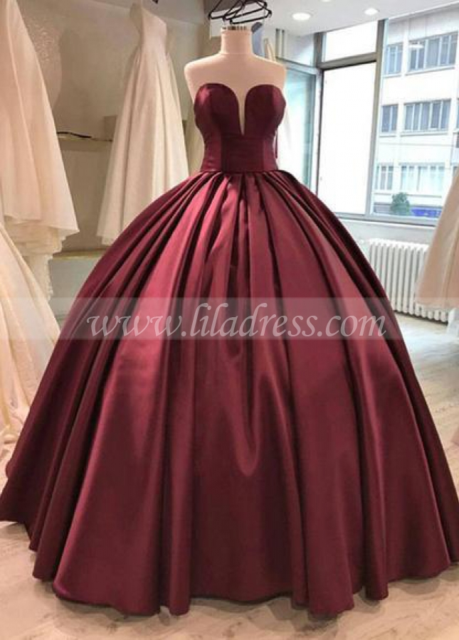 Floor Length Satin Burgundy Ball Gown Evening Dresses