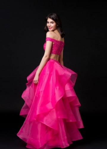 Fuchsia Organza Two-piece Prom Dresses Lace Off-the-shoulder