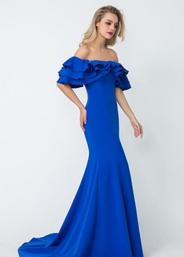 Flounced Off-the-shoulder Blue Evening Dresses with Mermaid Skirt