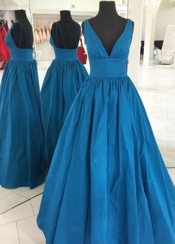 Floor-Length V-neckline Simple Prom Dresses Online