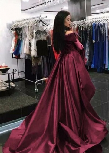 Folded Off-the-shoulder Burgundy Prom Dress with Overskirt