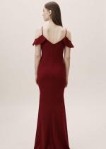 Flounced Burgundy Evening Gown Spaghetti Straps vestido de fiesta