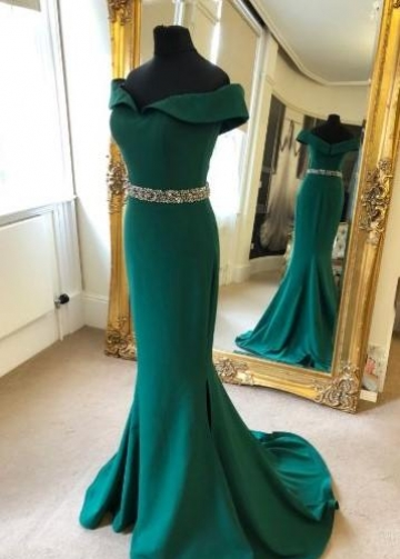 Fold Off-the-shoulder Green Evening Dress with Beaded Belt