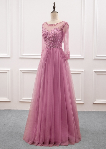 Fabulous Tulle & Satin Jewel Neckline Illusion Sleeves A-line Evening Dress with Beaded Embroidery