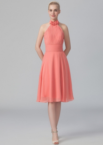 Flounced Halter Chiffon Coral Bridesmaid Dresses Knee Length