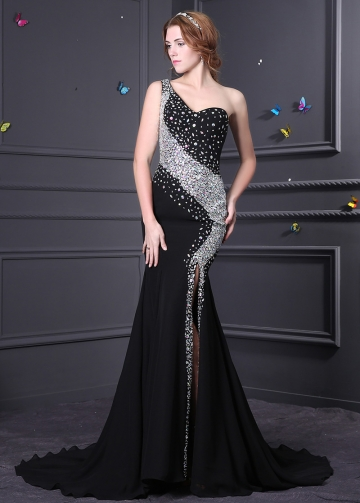 Brilliant Chiffon & Stretch Satin One Shoulder Neckline Mermaid Formal Dresses