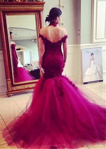 Marvelous Tulle & Satin Off-the-shoulder Mermaid Evening Dresses