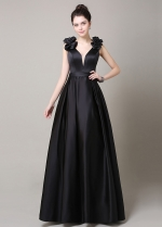 Elegant Satin V-Neck Neckline A-Line Military Dresses
