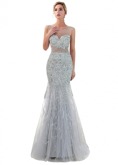 Fascinating Tulle Scoop Neckline Mermaid Evening Dress With Beadings & Feathers