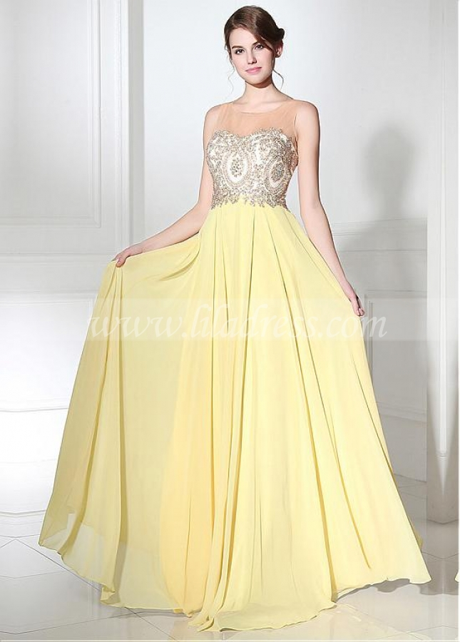 Elegant Tulle & Chiffon A-line Prom Dresses With Lace Appliques