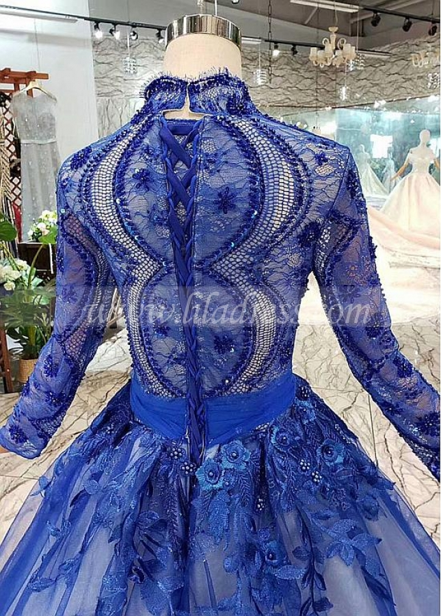 Fantastic Lace & Tulle High Collar Ball Gown Evening Dresses With Handmade Flowers & Beaded Sequin & Embroidery