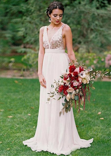 Beautiful Sequin & Chiffon V-neck Neckline Floor-length A-line Bridesmaid Dresses
