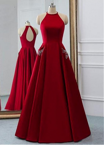 Brilliant Satin Jewel Neckline Floor-length A-line Prom Dresses With Beadings & Pockets