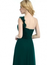 Green Chiffon One-shoulder Bridesmaid Dresses Long