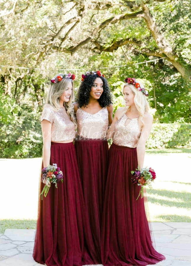 Gold Sequin Two Piece Burgundy Bridesmaid Dresses Tulle Skirt