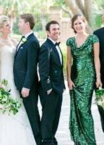 Green Sequin Bridesmaid Wedding Guests Dress with Draped Neckline
