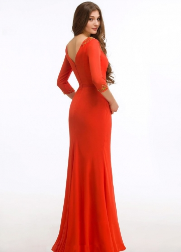 Gold Beaded V-neck Orange Red Groom Mother Dress with Sleeves