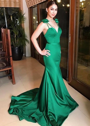 Green Satin Mermaid Evening Prom Dress with Bow Spaghetti Straps