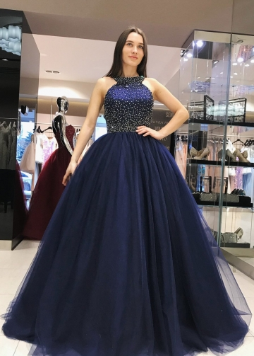 Grecian Neck Beaded Navy Prom Dresses Tulle Ball Gown with Hollow Back