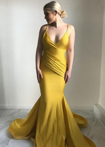 Ginger Yellow Mermaid Evening Dress Plunging V-neckline