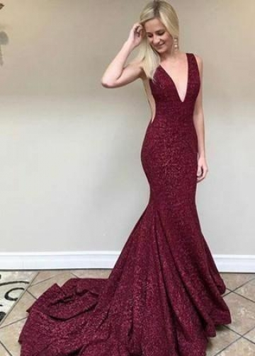 Glitter Sequin Burgundy Evening Dress Mermaid Train