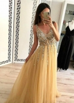 Gold Tulle Prom Dress with Rhinestones V-neck Bodice