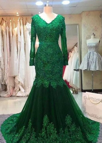 Green Beaded Lace Bride Mothers Evening Gown Long Sleeve