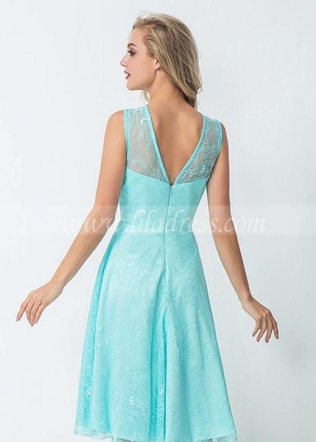 Glamorous Lace Bridesmaid Dress Knee Length