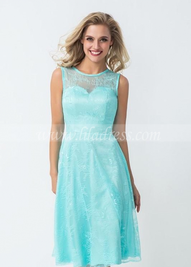 Glamorous Lace Bridesmaid Dress Knee Length
