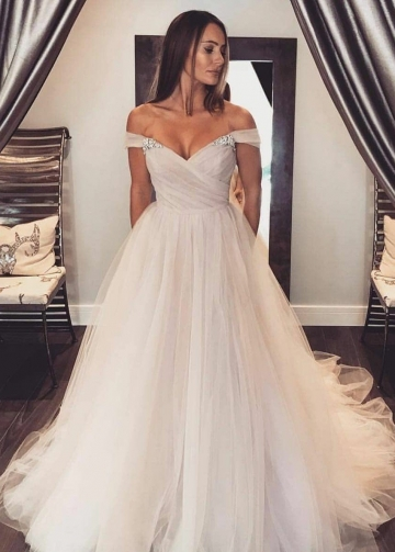 Glamorous Tulle Wedding Gown with Rhinestones Off-the-shoulder
