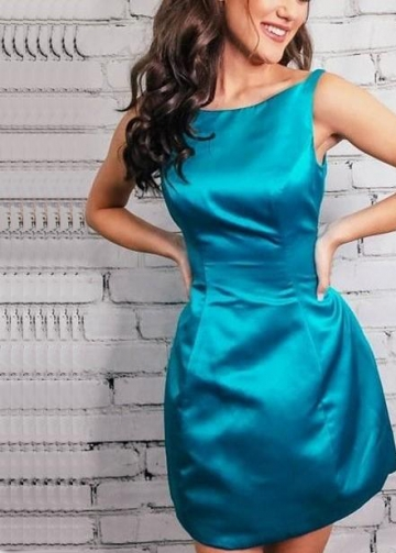 Hunter Satin Simple Sheath Cocktail Party Gown Dresses
