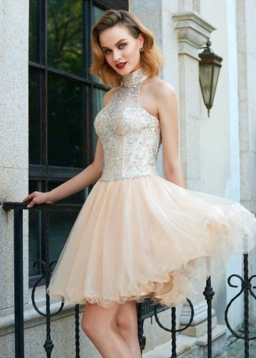 High Neck Champagne Homecoming Party Dress with Rhinestones Bodice