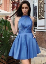 Halter Blue Satin Homecoming Dresses Short vestido de fiesta