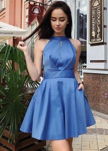 Halter Blue Satin Homecoming Dresses Short vestido de fiesta