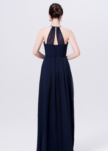 Halter Straps Long Chiffon Navy Blue Bridesmaid Dresses
