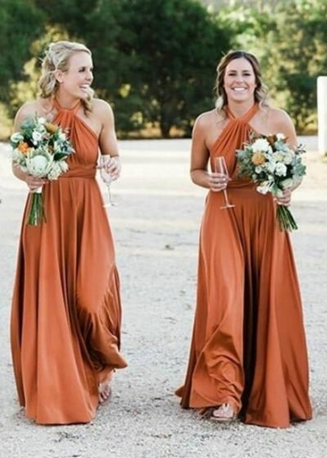 Halter Ginger Bridesmaid Dresses Long