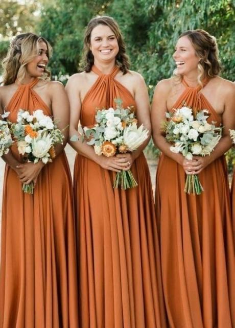 Halter Ginger Bridesmaid Dresses Long