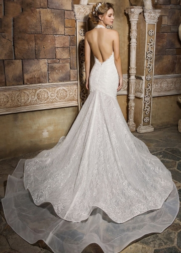 Halter Backless Mermaid Bridal Gown Dresses Lace vestido de noiva sereia