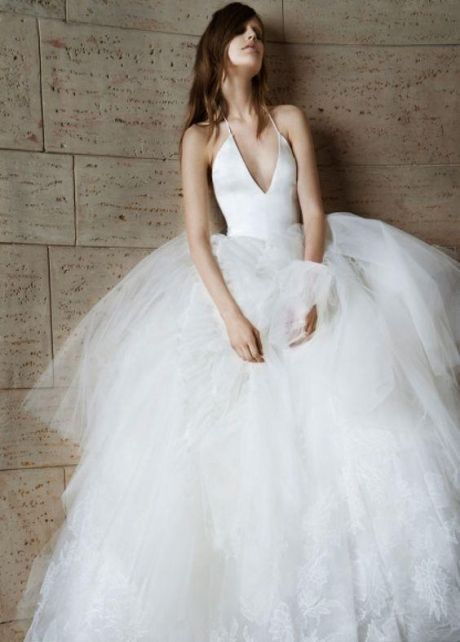 Halter Straps Sexy Wedding Dress with Puffy Tulle Skirt