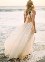 Halter Strap Casual Wedding Dress for Beach