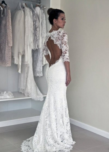 Half Sleeves Lace Bride Dresses vestido de noiva de renda