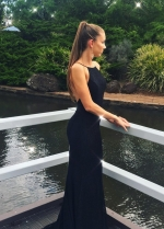 Halter Straps Sexy Low Back Black Lace Prom Dresses