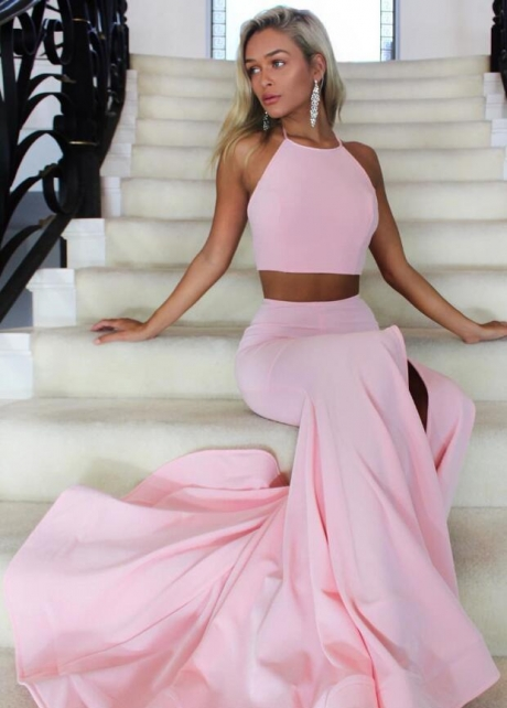 Halter Straps Pink Two Piece Prom Dresses with Mermaid Skirt
