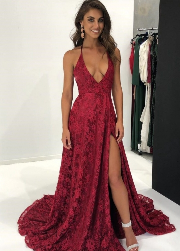 Halter Plunging V-neck A-line Burgundy Lace Dress for Prom Party