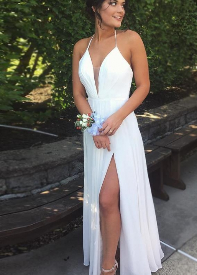 Halter Plunging V-neckline Chiffon White Prom Gown with Side Slit