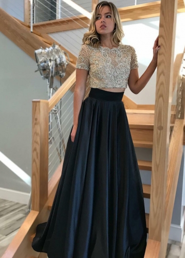 Heavy Beading Short Sleeves Prom Dresses Two-Piece
