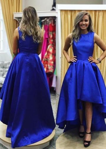 High Low Satin Royal Blue Prom Dresses Near Me
