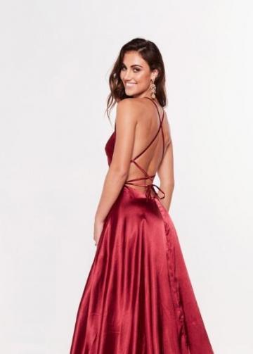 High Thigh Slit Burgundy Prom Dress Long Off-the-shoulder