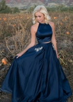 Halter Two Piece Prom Dresses Dark Blue Satin Stones Pockets